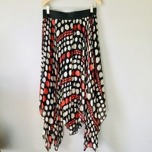 Red Olive flowy pleated skirt